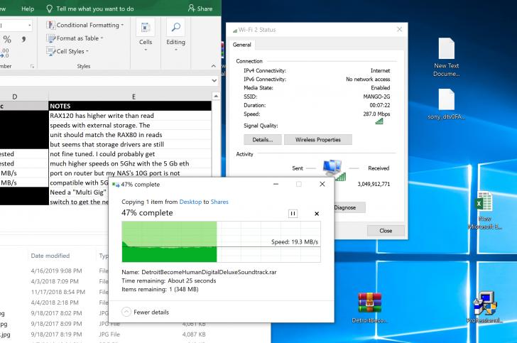 Intel AX200 / NETGEAR RAX80, RAX120 Test Results