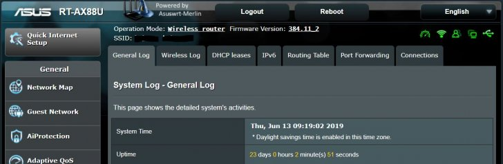 23 Days Uptime - no issues - ASUS Merlin 384.11_2 for RT-AX88U - 06132019.JPG