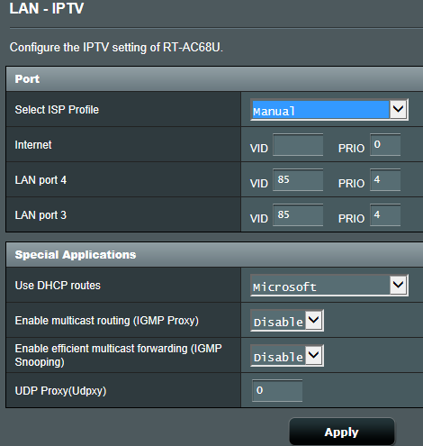 Manual IPTV settings stop Internet connections