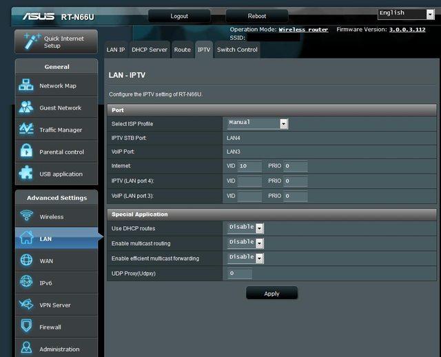 Asus RT-N66U - Using VLAN = LAN3 + LAN4 stop working