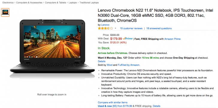 Lenovo Chromebook N22 - $179 on the Amazon - 12/09 only