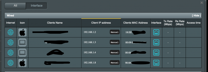 No wired clients traffic showing on network map