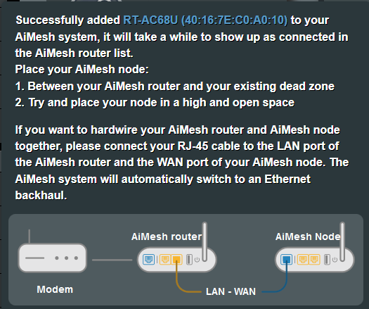SOLVED] Help! Cannot connect AC68U to my AC86U as aimesh