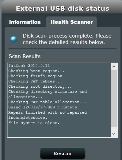 AC68U Health Scanner running long on my USB-2 external drive